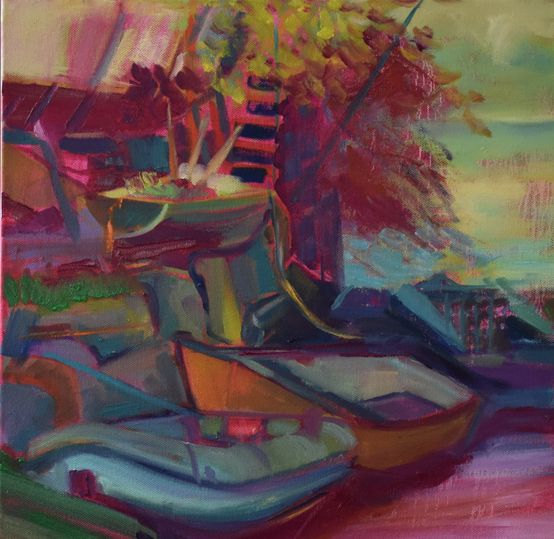 Ponsharden Boatyard Pablos boat - Oil Painting